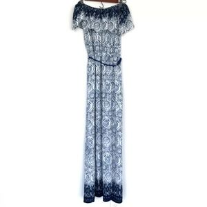 A'GACI Blue White Off The Shoulder Maxi Dress